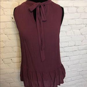 Sleeveless Burgundy Tie-Neck Blouse